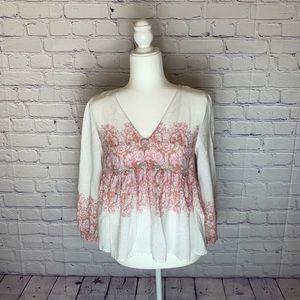 LUCKY BRAND | V- Neck | 3/4 Sleeve Top | Size M